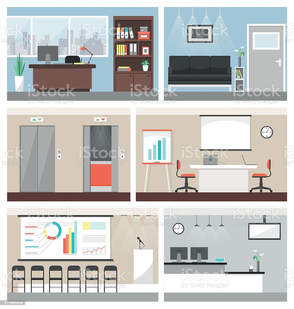 Business office vector art illustration