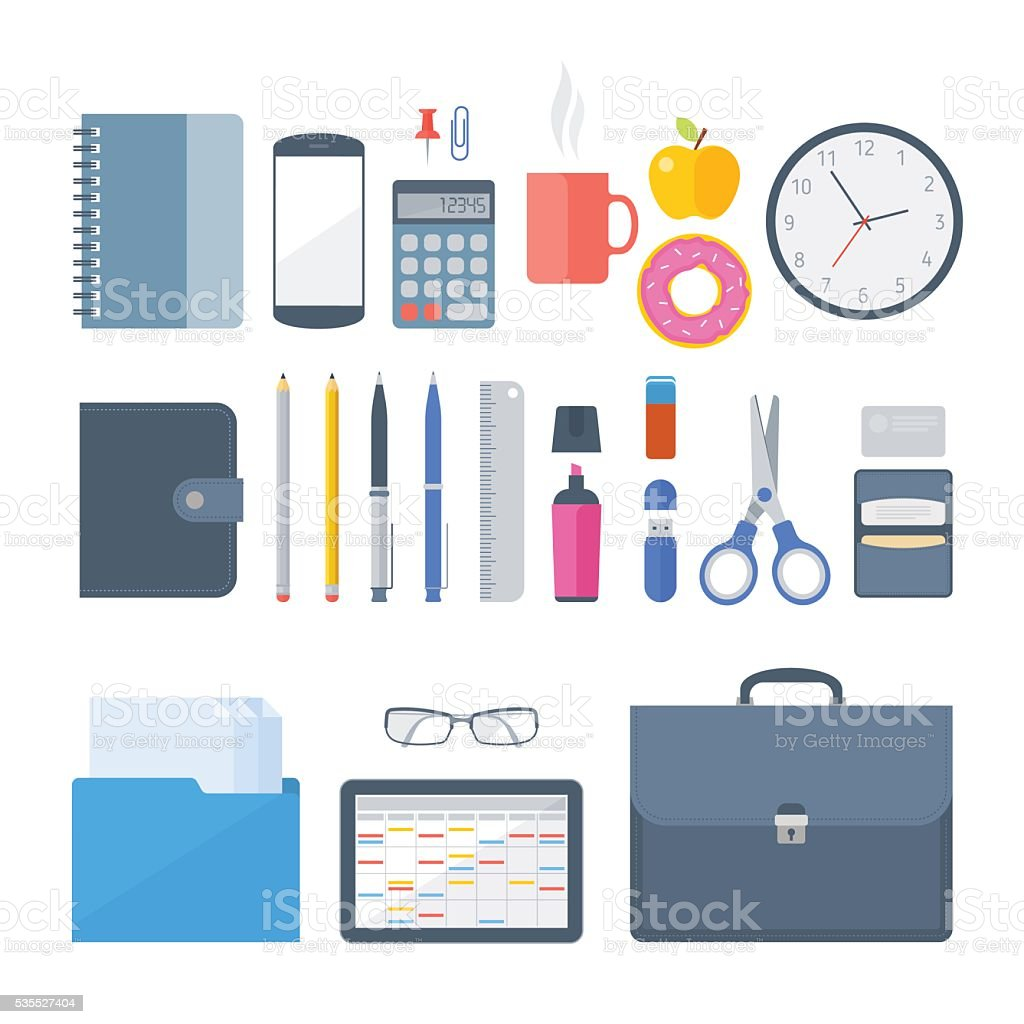 Business, office workplace supplies, items, school workspace acc vector art illustration