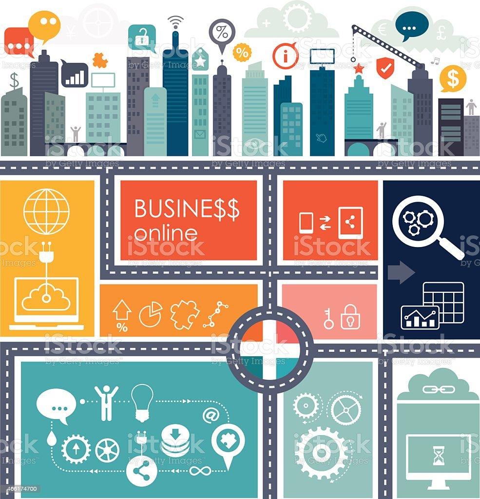 Business Online Communication Info Graphics vector art illustration