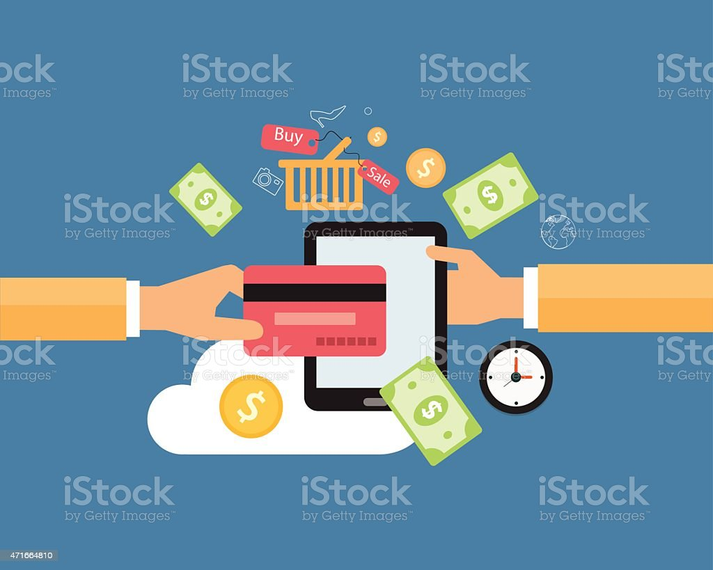 business online payment and shopping online concept vector art illustration