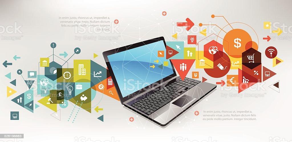 Business online vector art illustration