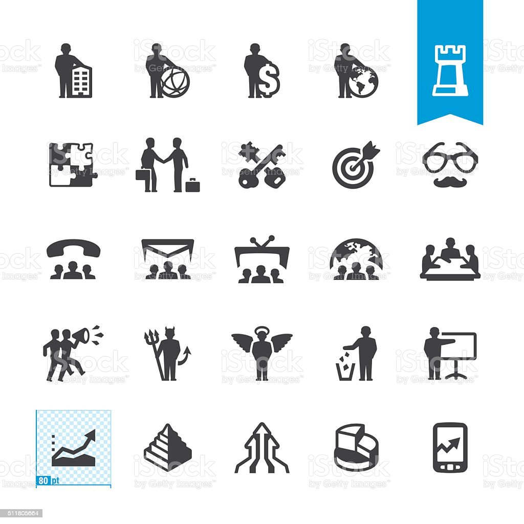 Business owner and Marketing vector icons vector art illustration