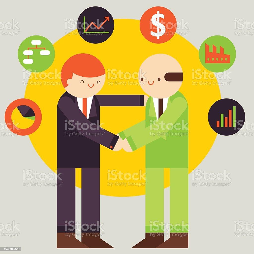 Business Partnership vector art illustration