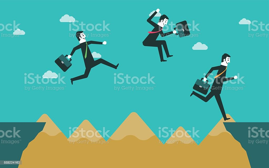 Business people across the cliff vector art illustration