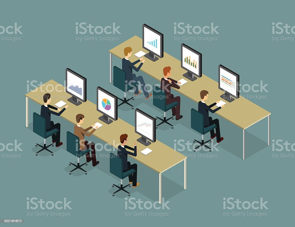 business people analytic on monitor graph report and business report vector art illustration