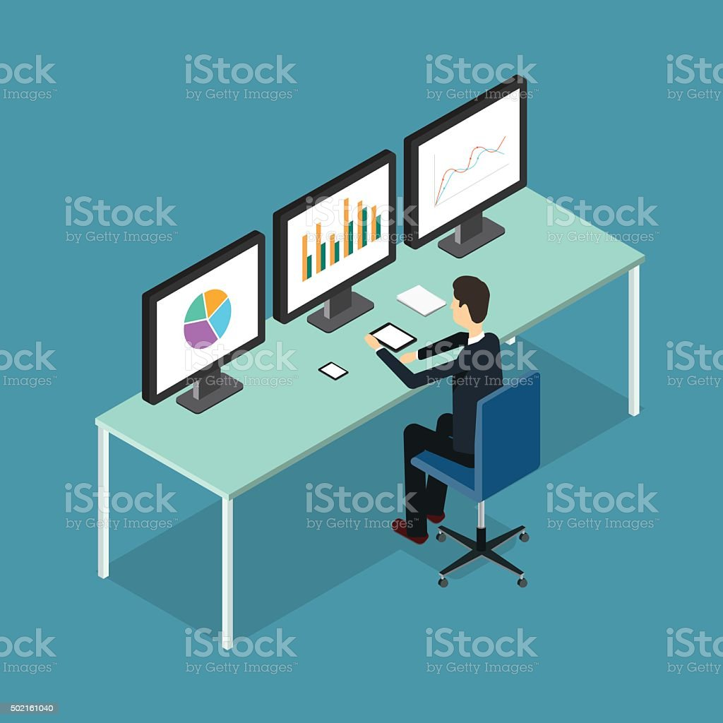 business people analytic on monitor graph report  .business research vector art illustration
