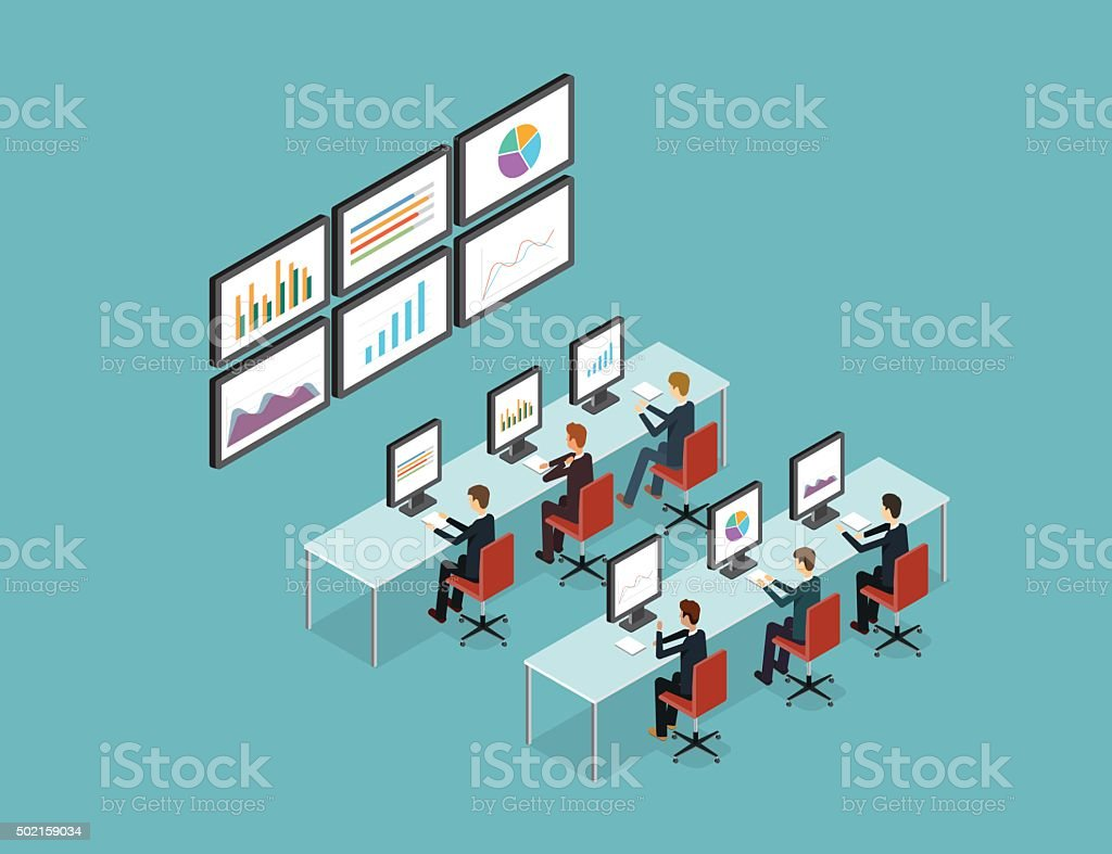 business people analytic on monitor graph report vector art illustration