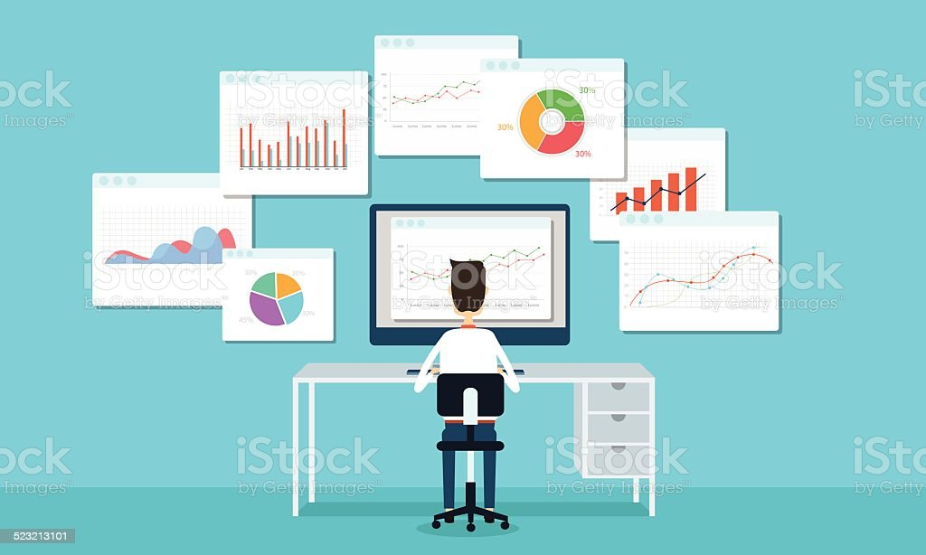 business people analyze business graph and seo on web vector art illustration