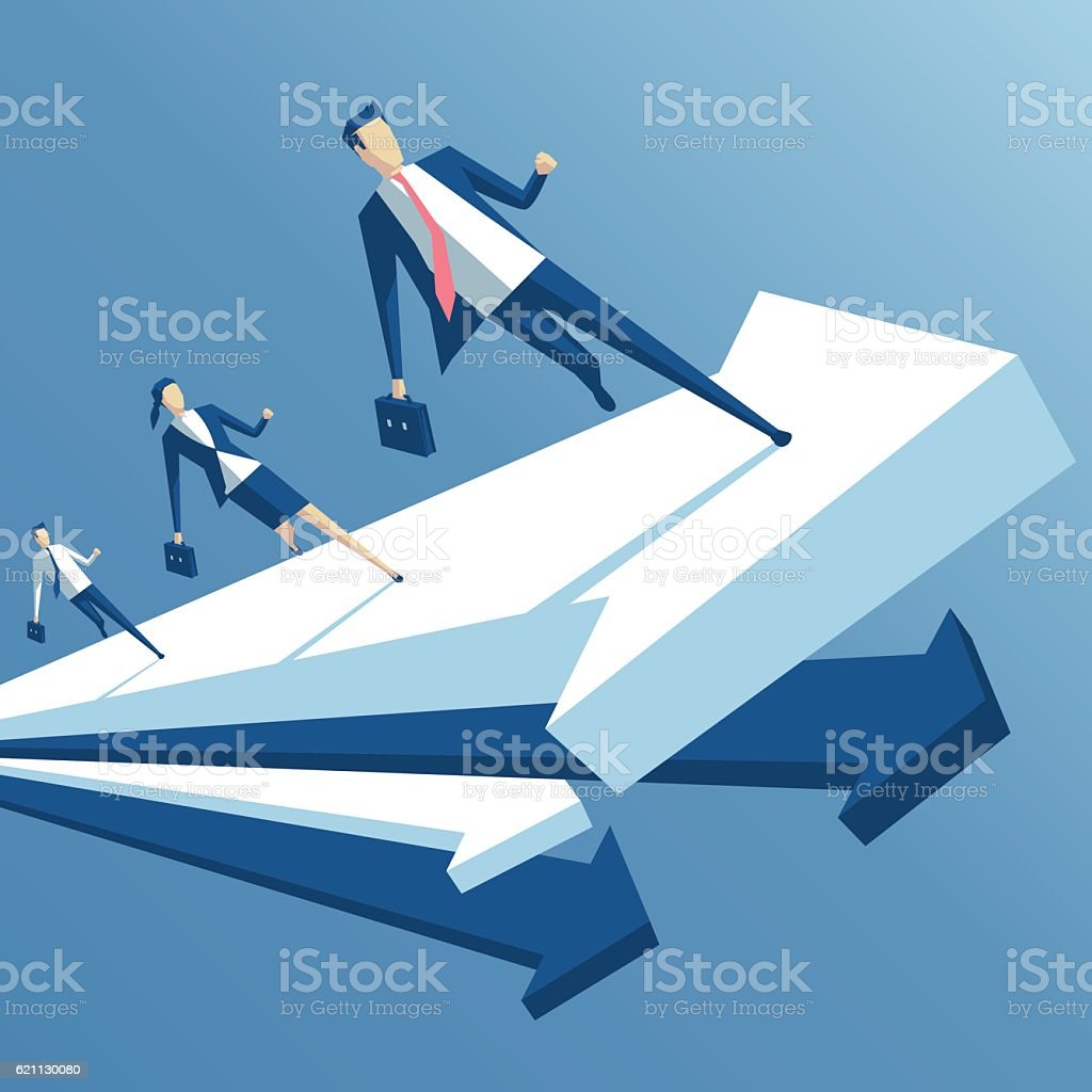Business people and arrows vector art illustration