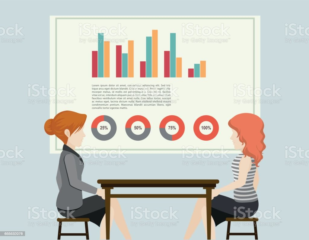 Business people and graphs vector art illustration