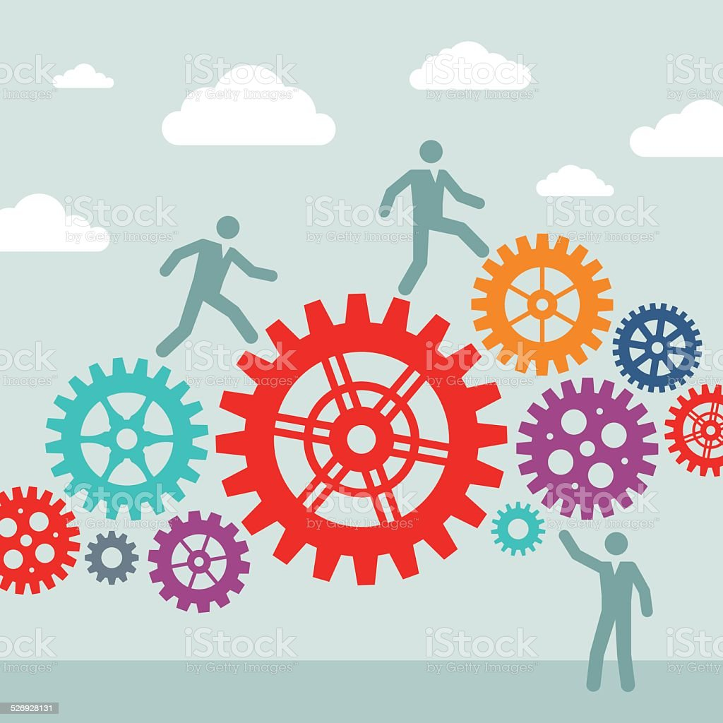 Business people and machine gears wheel - vector concept illustration vector art illustration