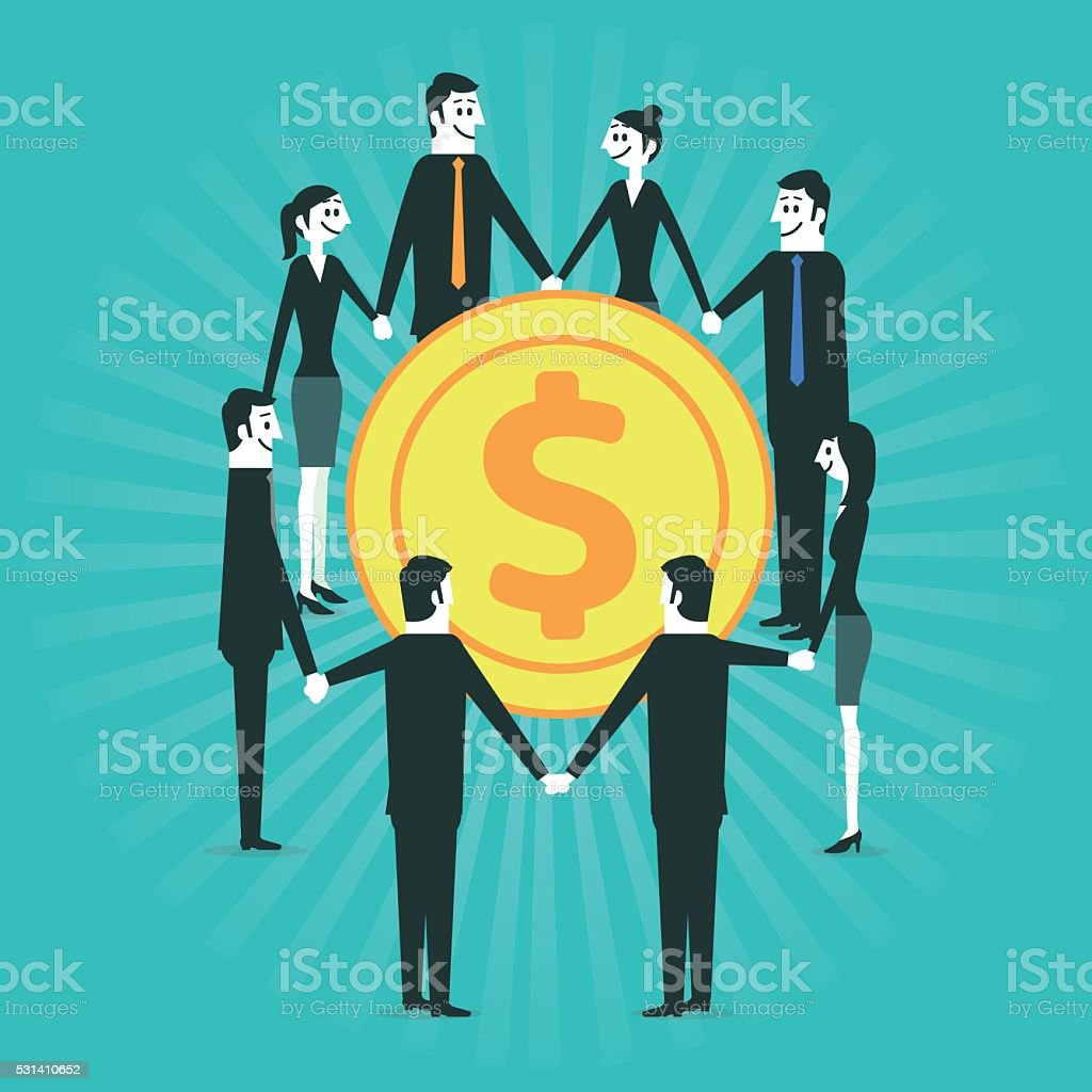 Business people and money vector art illustration