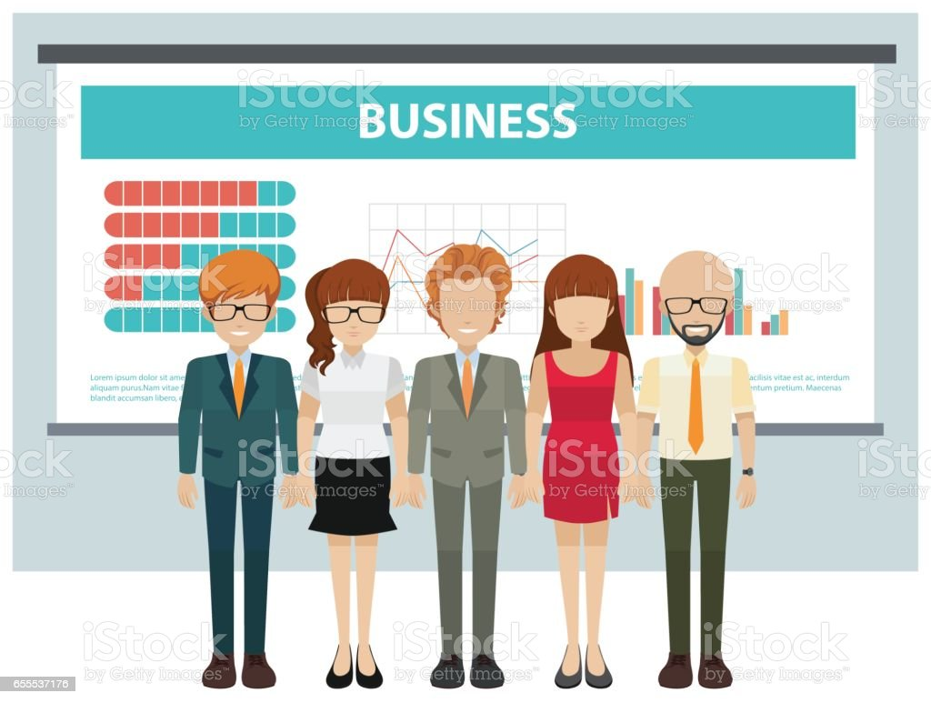 Business people and presentation board vector art illustration
