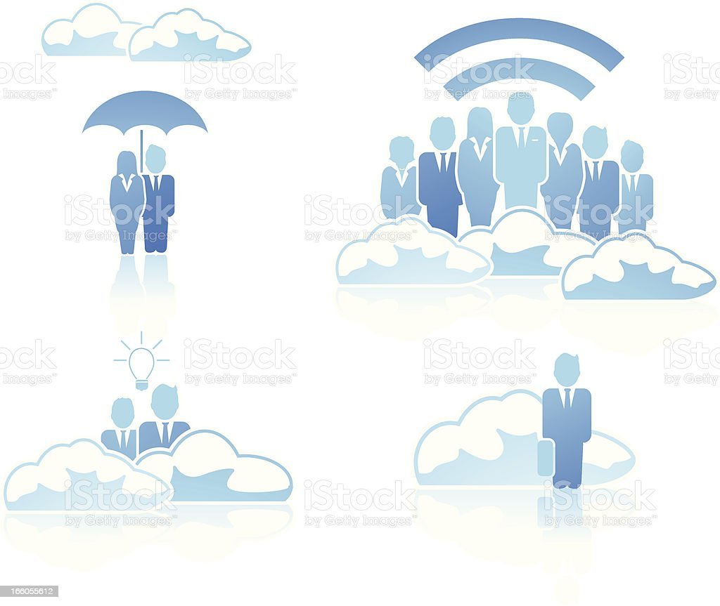 Business people and the cloud royalty-free stock vector art