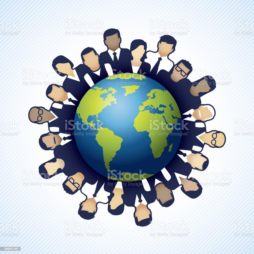 Business people around a globe royalty-free stock vector art