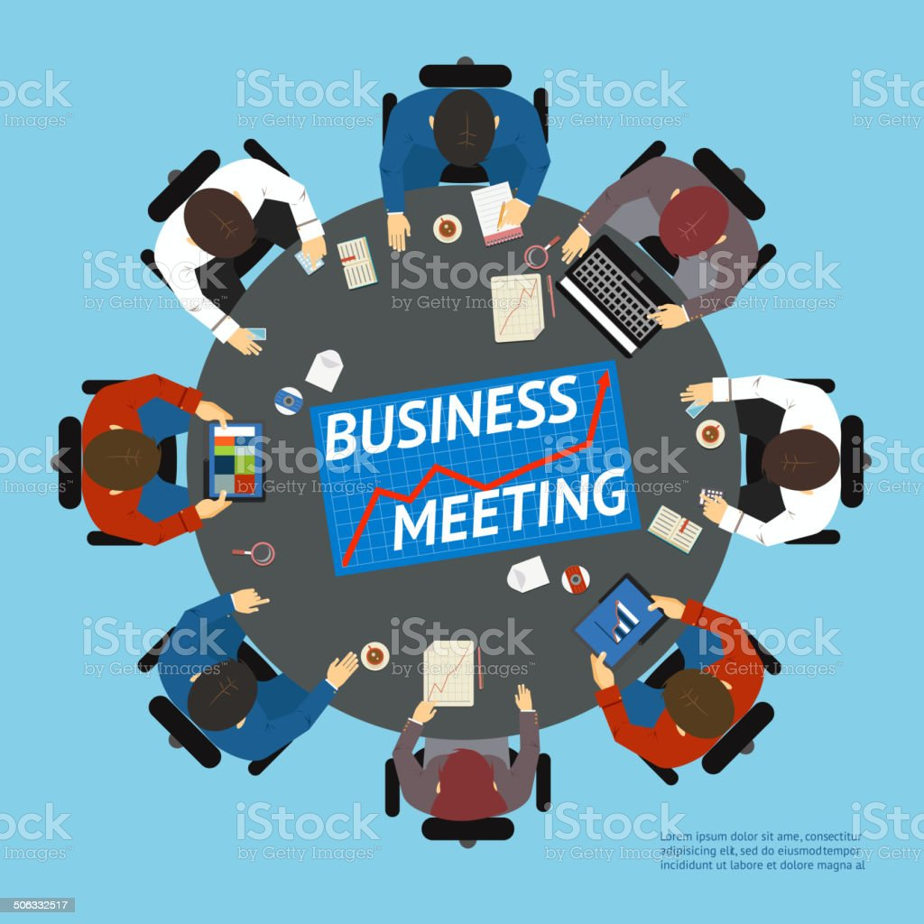 Business people at a negotiating table royalty-free stock vector art