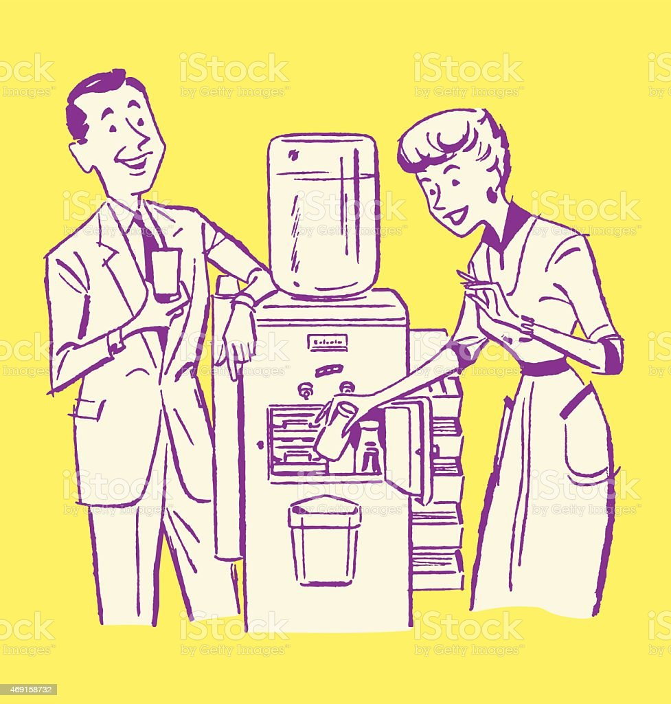 Business People at Water Cooler vector art illustration