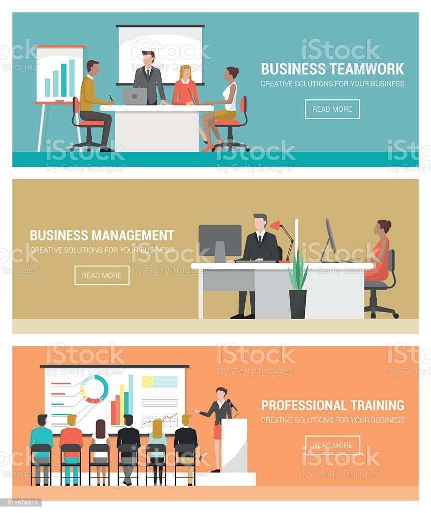 Business people at work vector art illustration