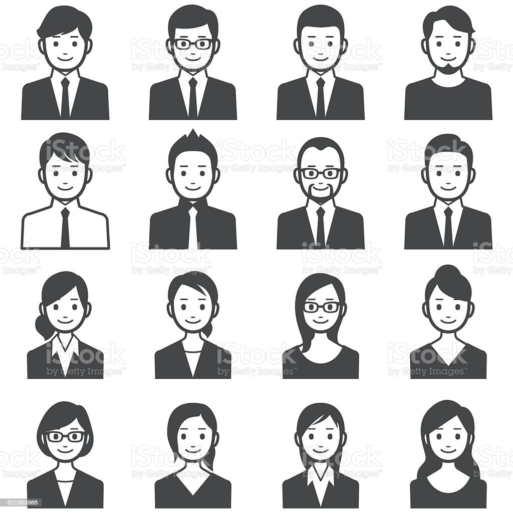 Business people avatars vector art illustration