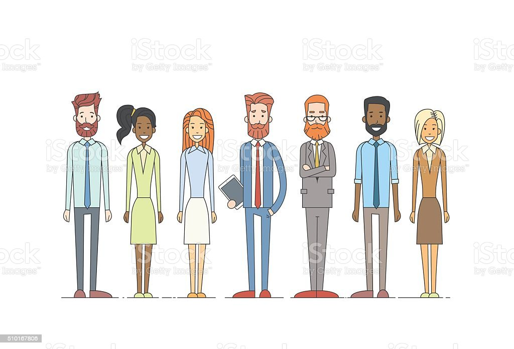 Business People Cartoon Character Set Full Length Man Woman Collection vector art illustration