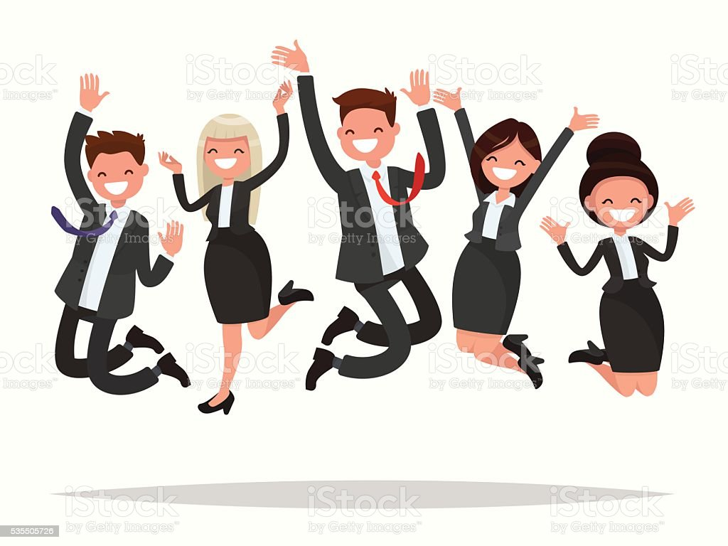 Business people celebrating a victory jump on a white background vector art illustration