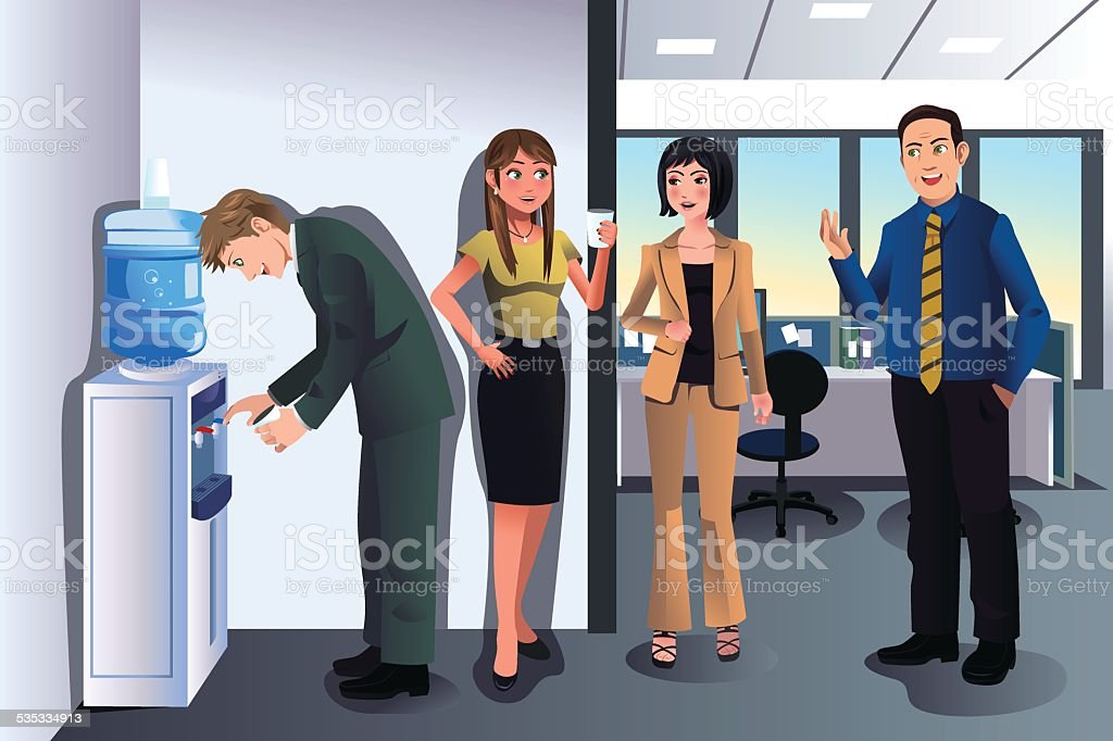Business people chatting near a water cooler vector art illustration