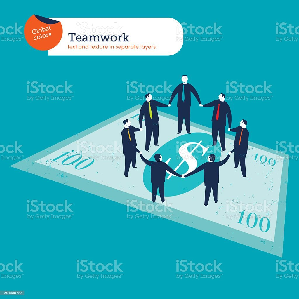 Business people circle on a dollar bill vector art illustration