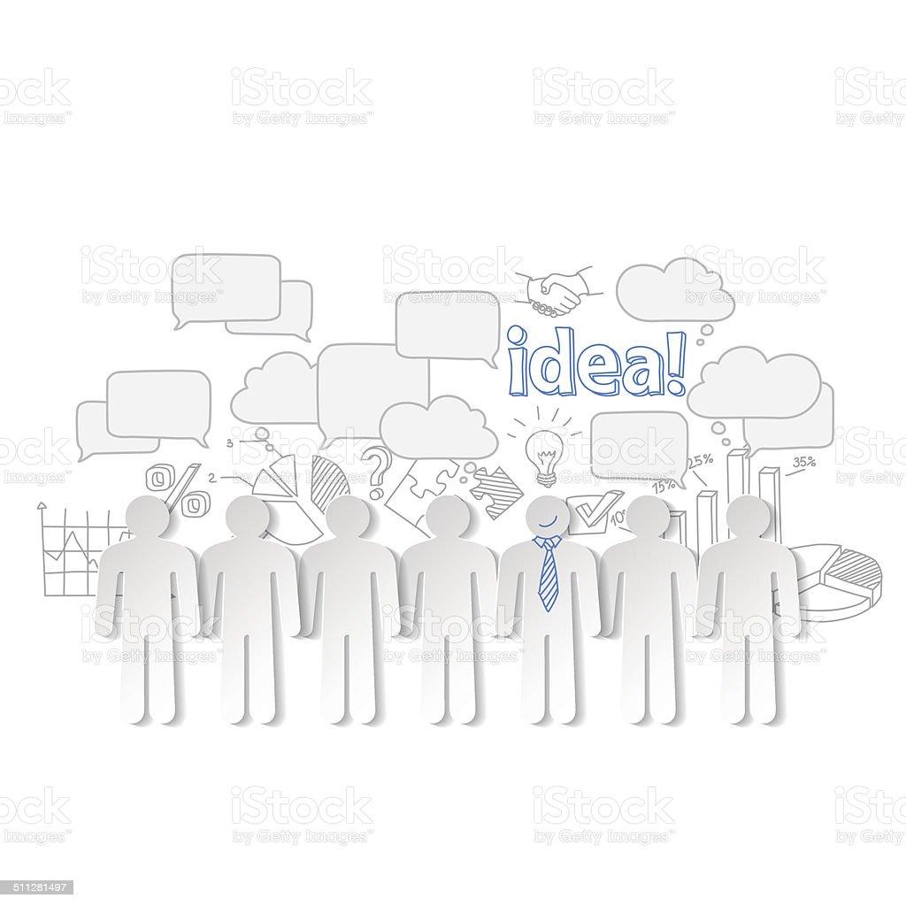 Pessoas de negócios idéia de vetor de comunicação e trabalho em equipe vetor e ilustração royalty-free royalty-free