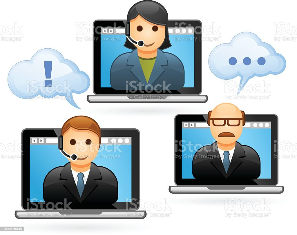 Business people conference call - video conference vector art illustration