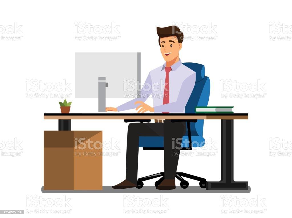 Business People  Desk,Vector illustration cartoon character vector art illustration