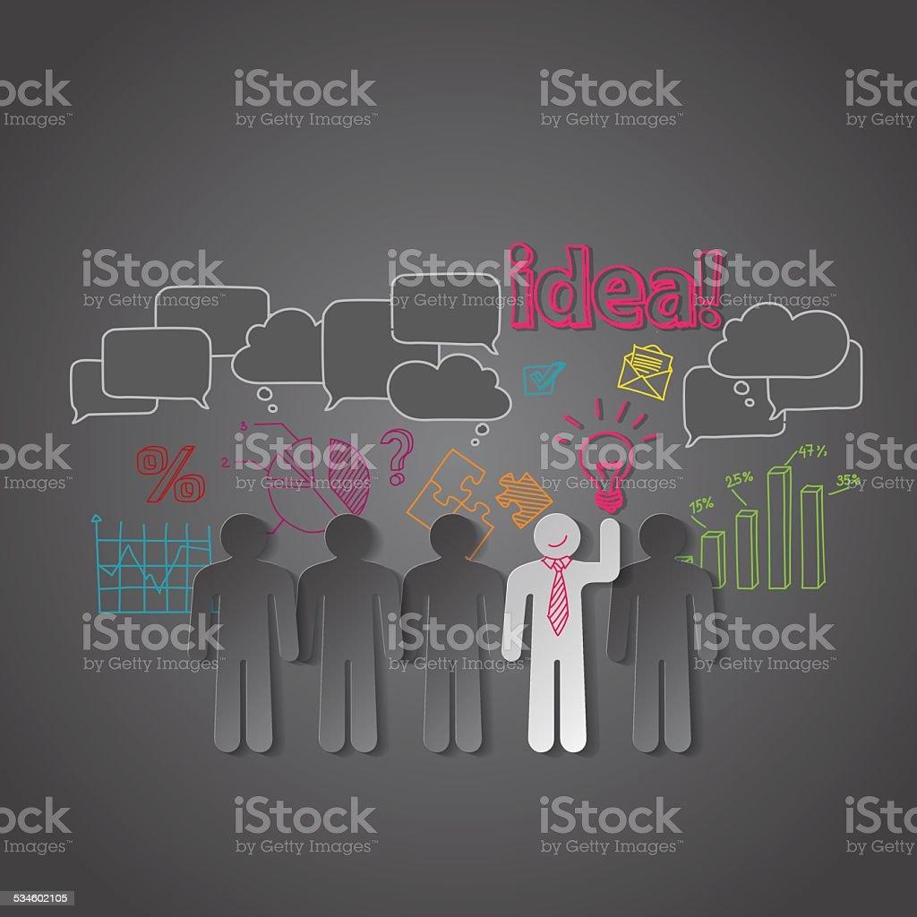 Grupo de pessoas de negócios Vetor de discussão, a ideia de trabalho em equipe vetor e ilustração royalty-free royalty-free