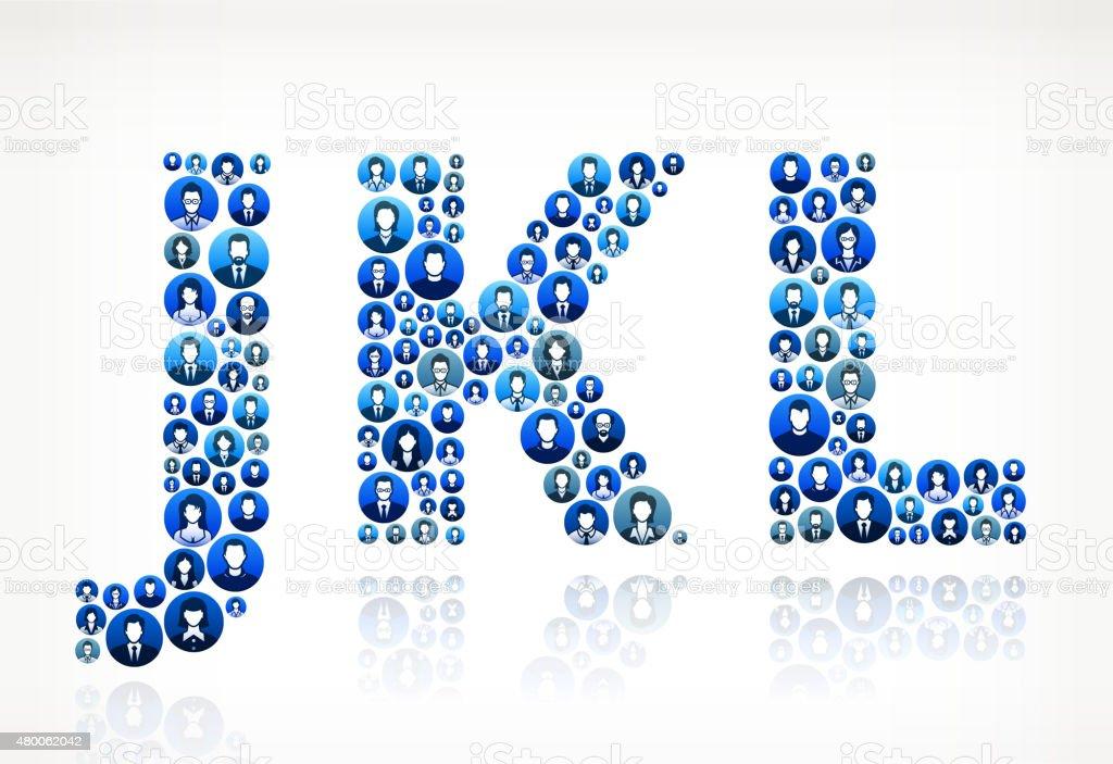 JKL Business People Faces Finance and Teamwork Pattern. vector art illustration