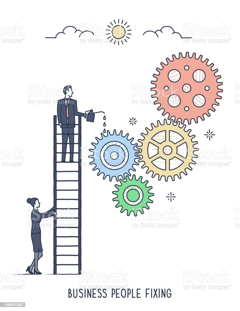 Business People Fixing vector art illustration