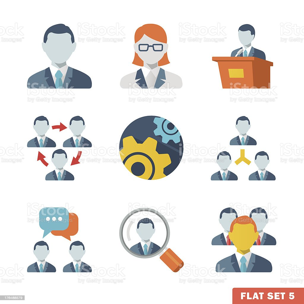 Business people Flat icons vector art illustration