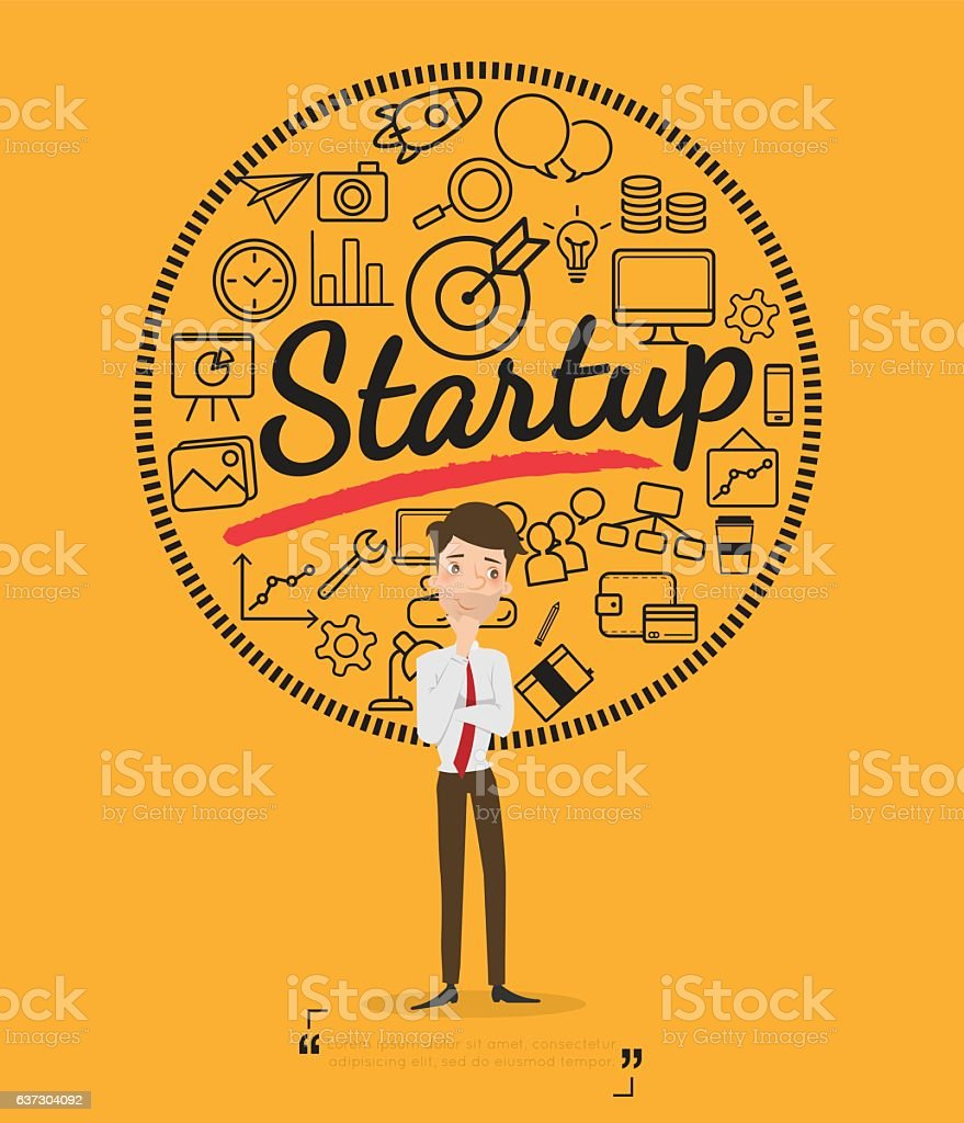 Business people for start up concept vector art illustration