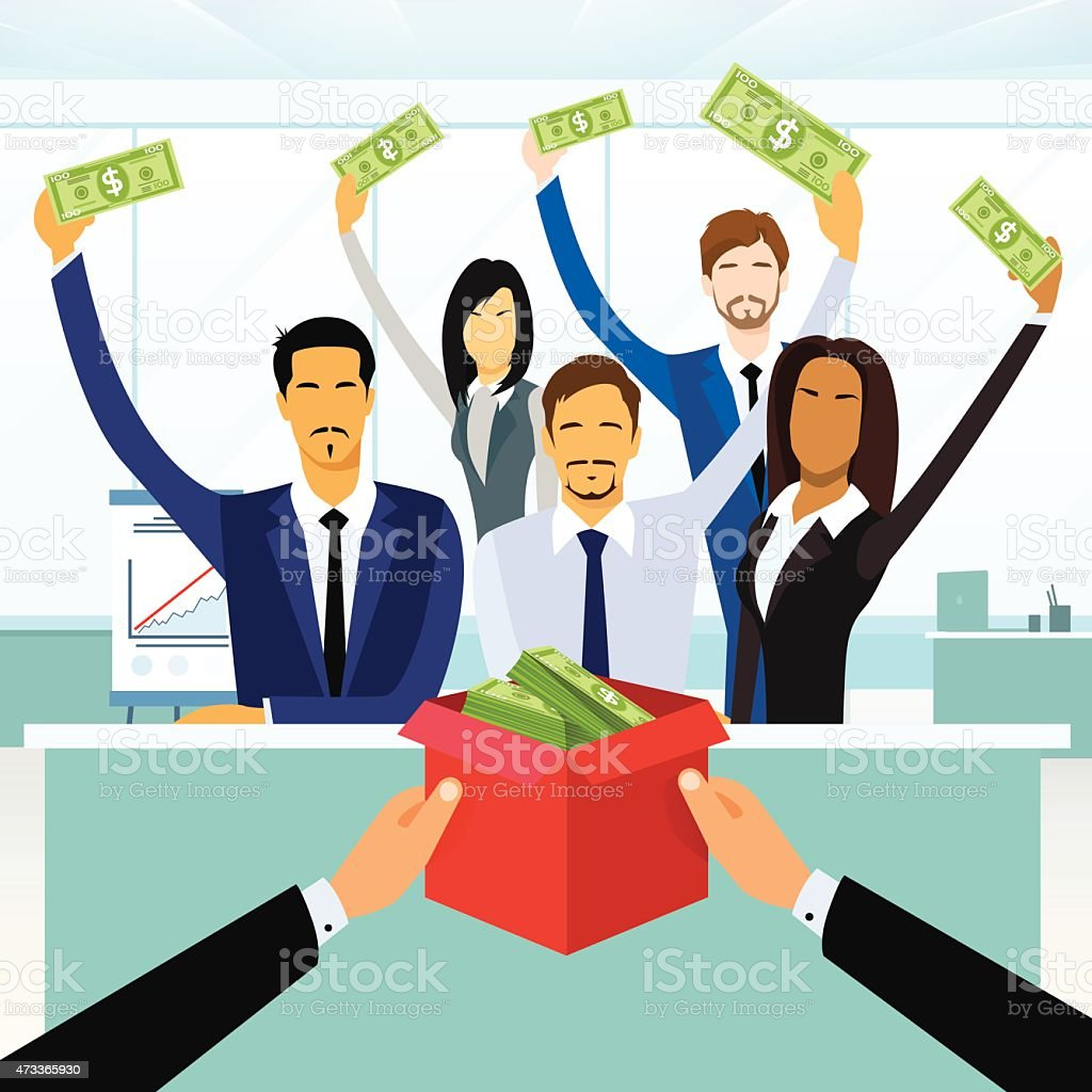 Business People Group Crowd Funding Put Money Donation in Box vector art illustration