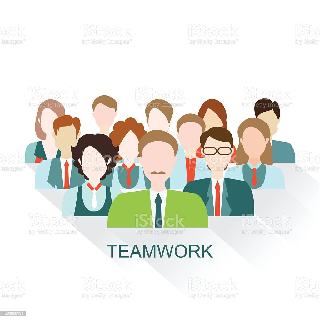 Business People group in flat style. vector art illustration