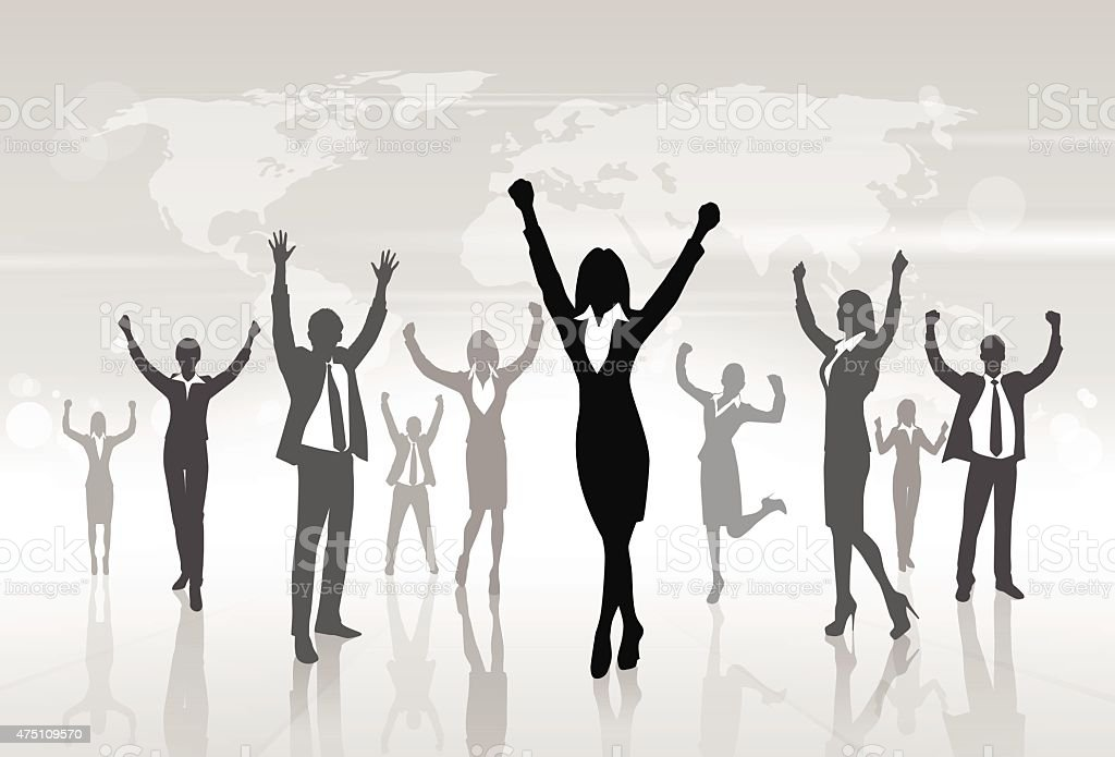Business People Group Silhouette Excited Hold Hands Up vector art illustration
