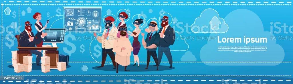 Business People Group Wear Virtual Reality Glasses Digital Interface Screen Presentation Seminar vector art illustration