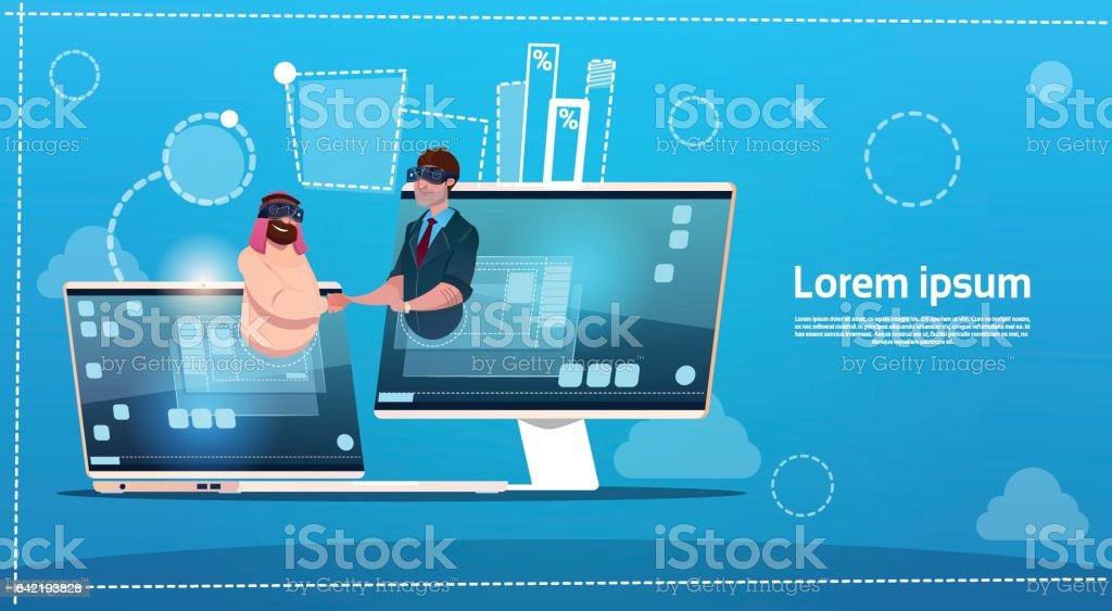 Business People Hand Shake Virtual Meeting Digital Reality Glasses vector art illustration
