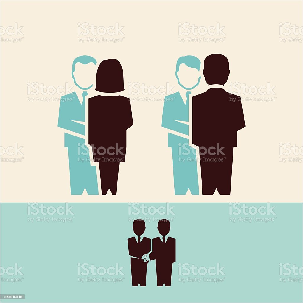 business people handshake vector art illustration