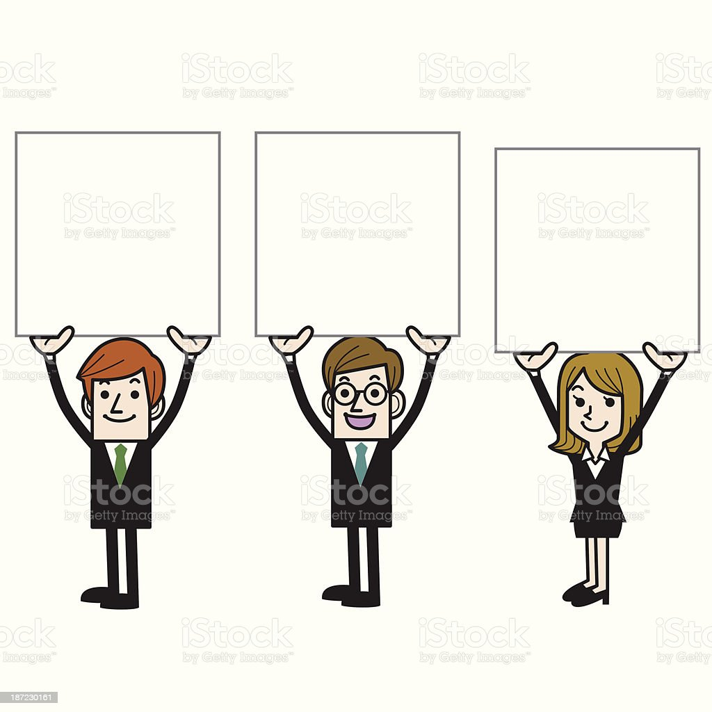 Business People Holding Blank Board royalty-free stock vector art