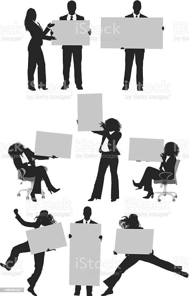 Business people holding blank cardboard vector art illustration