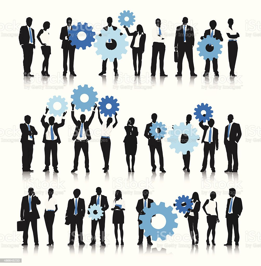 Business people holding gear bubble vector art illustration