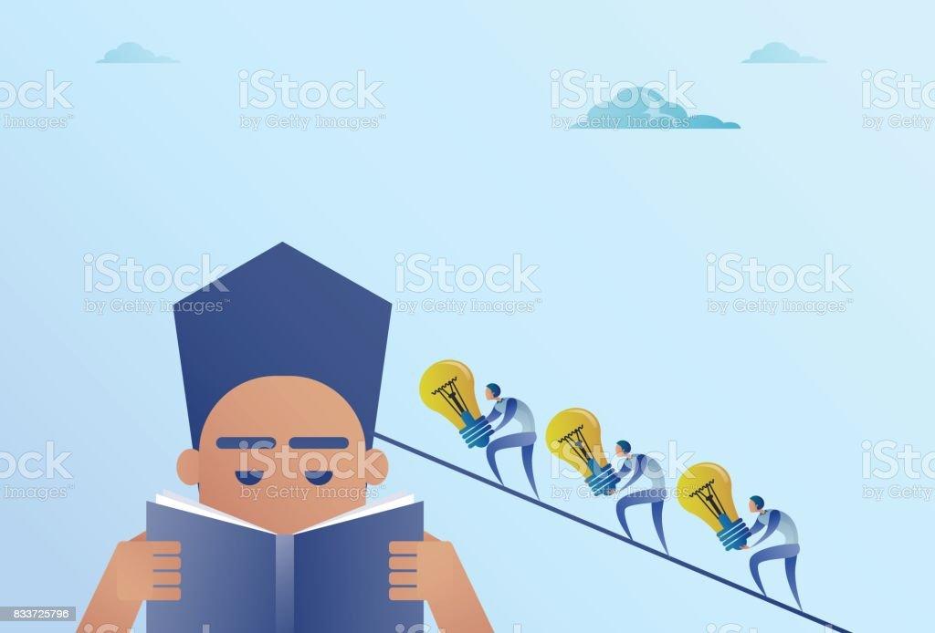 Business People Holding Light Bulbs Walking To Businessman Head Reading Book Idea Teamwork Concept vector art illustration