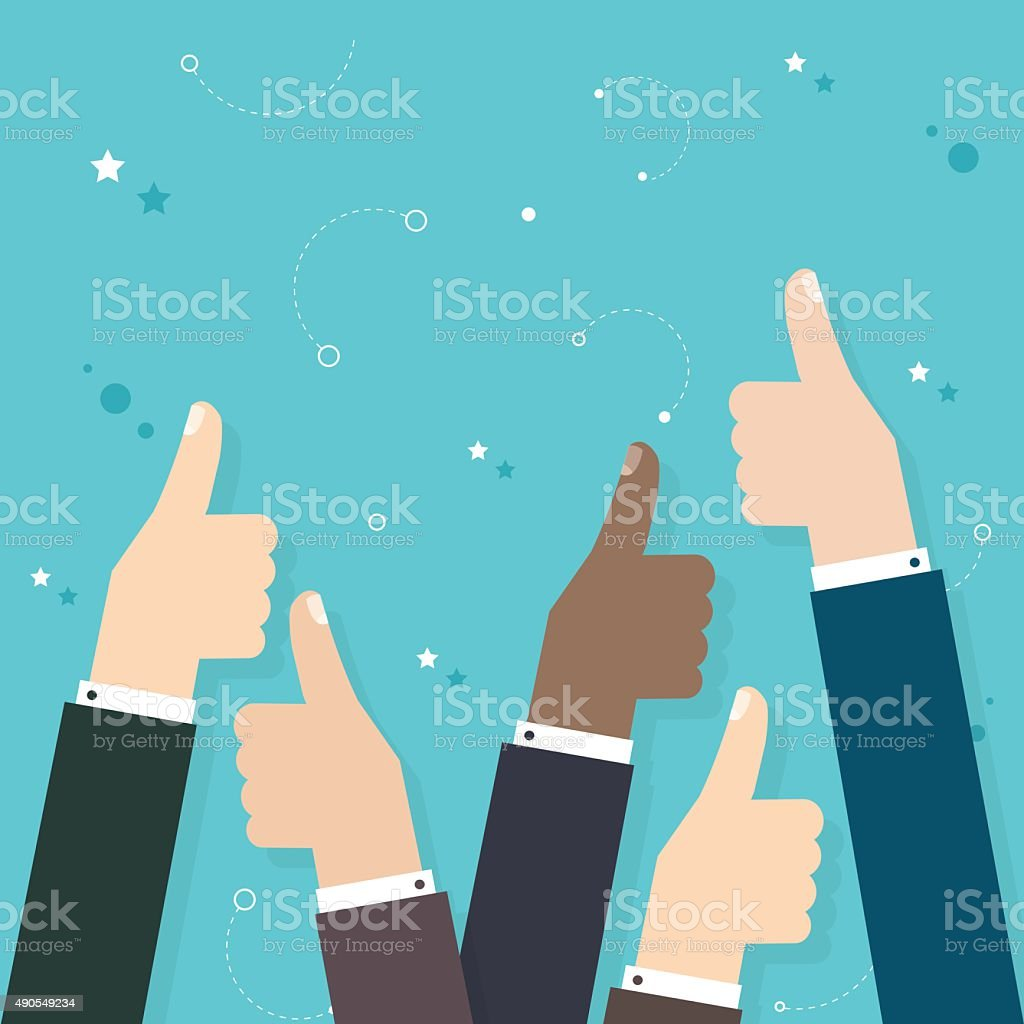 Business  people holding many thumbs thumbs up. Business flat ve vector art illustration