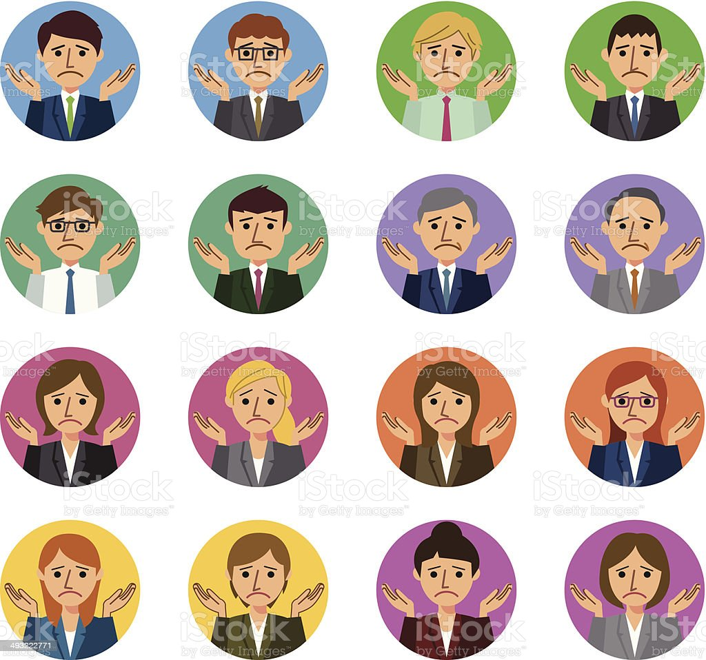 Business people I don't know gesture vector art illustration