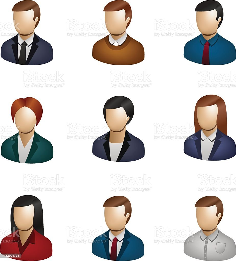 Business People Icon Set 3D vector art illustration