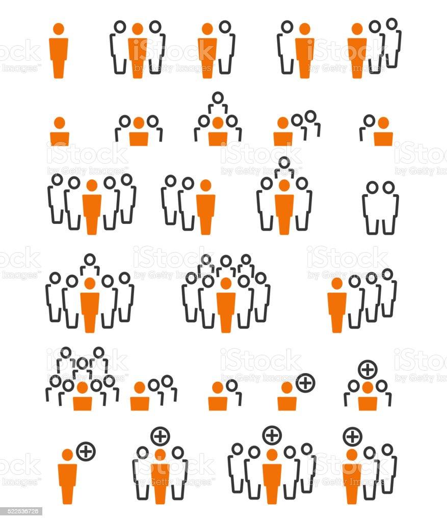 Business people icon set vector art illustration