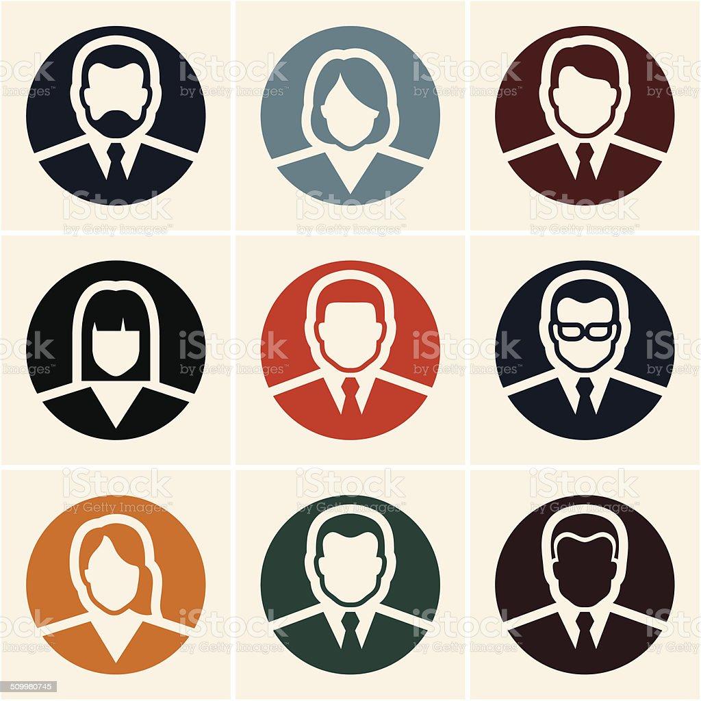 Business people icons. Avatar. vector art illustration